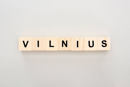 Vilnius word made on wooden cubes