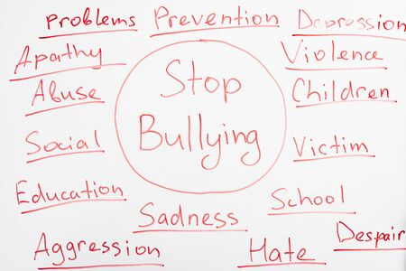 red stop bullying lettering written on white flip chart Stock Photo