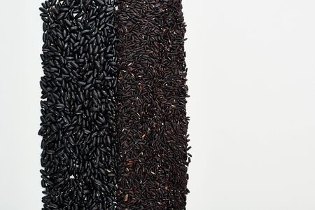 top view of small black beans and rice isolated on white