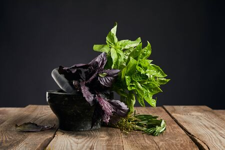 mortar with fresh green and purple basil with rosemary on wooden table isolated on black