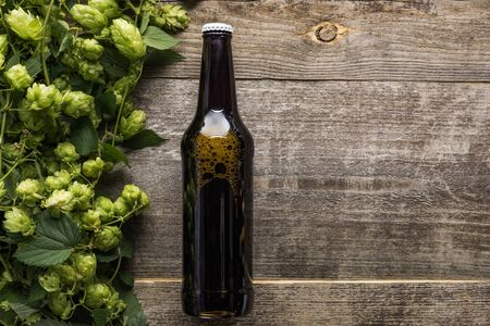top view of beer in dark bottle with green hop on wooden rustic table