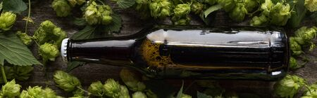 top view of fresh beer in brown bottle with green hop on wooden background, panoramic shot