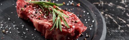 panoramic shot of raw beef fillet with rosemary twig sprinkled with salt and pepper on round wooden surface