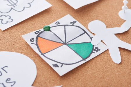 cards with pie diagram pinned on cork office board
