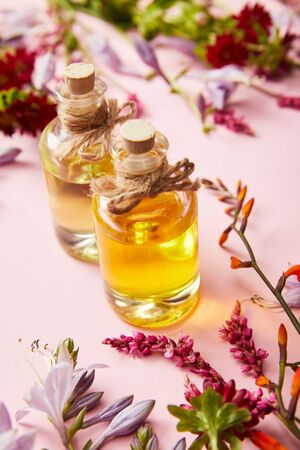 bottles with oil near wildflowers on pink background