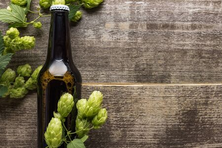 top view of beer in brown bottle with green hop on wooden surface