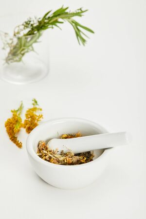 mortar and pestle with herbal mix near goldenrod twig and glass on white background