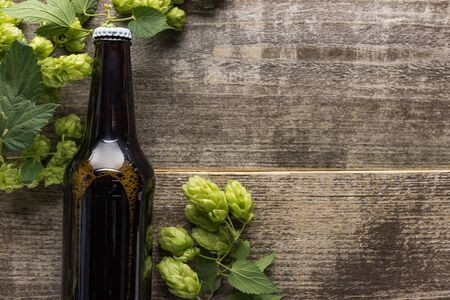 top view of fresh beer in bottle with green hop on wooden background