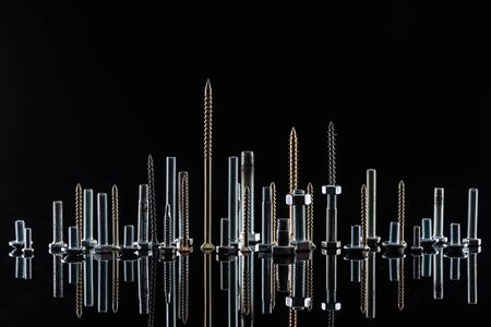 various shiny metallic screws isolated on black with copy space