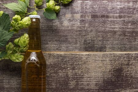 top view of beer in bottle with green hop on wooden background