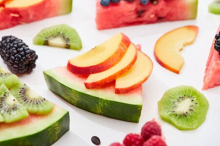 delicious dessert with watermelon, nectarine and berries on white background 写真素材