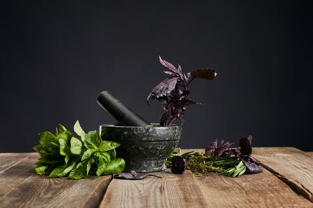 mortar with pestle near fresh green and purple basil on wooden table isolated on black Stock Photo
