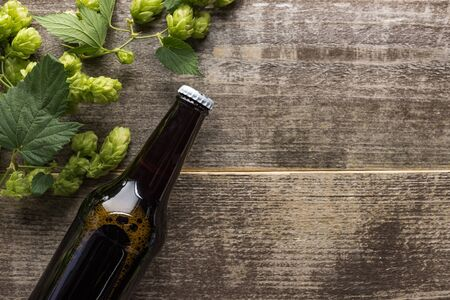 top view of beer in brown bottle with green hop on wooden background
