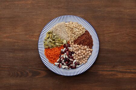 top view of striped plate with raw lentil, chickpea, quinoa, oatmeal, beans and pumpkin seeds on wooden table