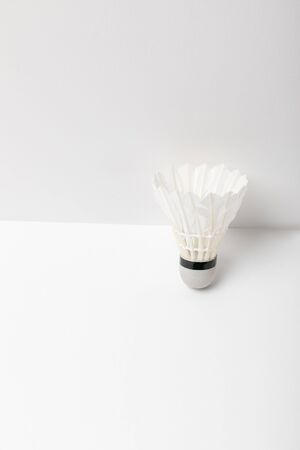 white light badminton shuttlecock on white background with copy space Stock Photo