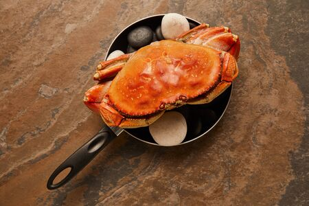 top view of uncooked crab with solid shell with black stones in frying pan on textured surface