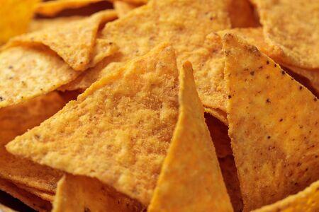 close up view of Mexican corn delicious nachos Stock Photo