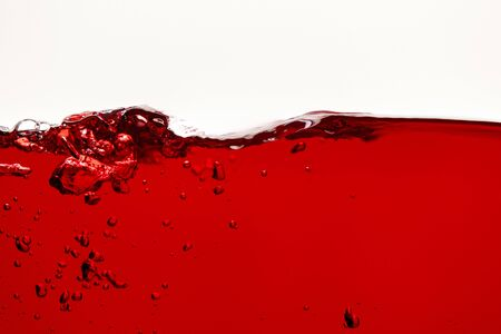 red bright wave with underwater bubbles isolated on white