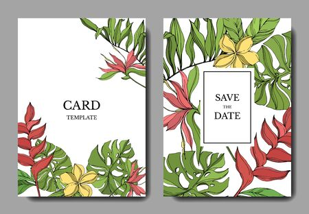 Palm beach tree leaves jungle botanical. Red and green engraved ink art. Wedding background card floral decorative border. Thank you, rsvp, invitation elegant card illustration graphic set banner.