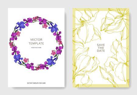 Vector Irises floral botanical flowers. Black and white engraved ink art. Wedding background card floral decorative border. Thank you, rsvp, invitation elegant card illustration graphic set banner.