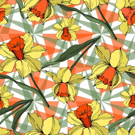 Vector Narcissus floral botanical flower. Wild spring leaf wildflower isolated. Yellow and green engraved ink art. Seamless background pattern. Fabric wallpaper print texture. Stock Illustratie