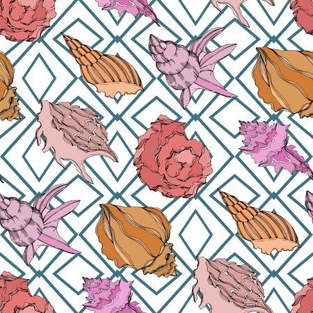 Vector Summer beach seashell tropical elements. Black and white engraved ink art. Seamless background pattern. Fabric wallpaper print texture on white background. Illustration
