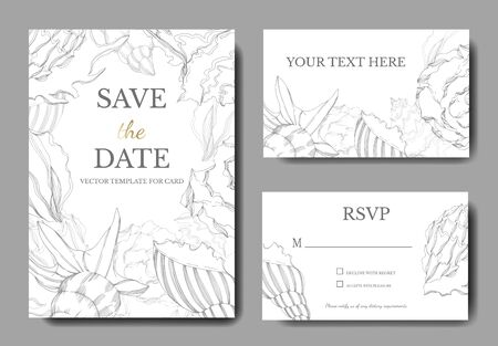 Vector Summer beach seashell tropical elements. Black and white engraved ink art. Wedding background card decorative border. Thank you, rsvp, invitation elegant card illustration graphic set banner. Ilustracja