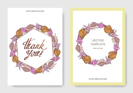 Vector Summer beach seashell tropical elements. Black and white engraved ink art. Wedding background card decorative border. Thank you, rsvp, invitation elegant card illustration graphic set banner. Illustration