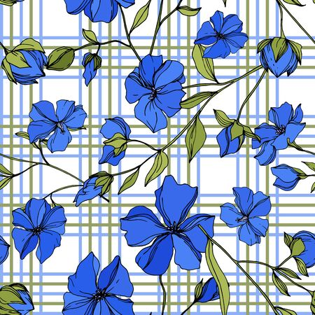 Vector Flax floral botanical flowers. Wild spring leaf wildflower isolated. Blue and green engraved ink art. Seamless background pattern. Fabric wallpaper print texture.