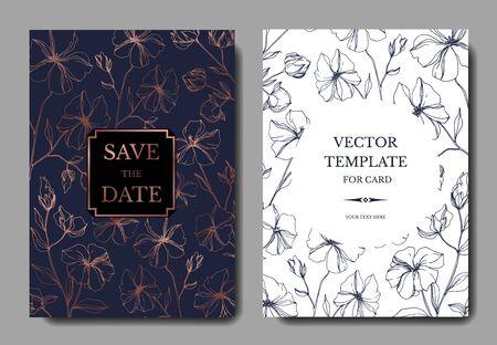 Vector Flax botanical flowers. Black and white engraved ink art. Wedding background card floral decorative border. Thank you, rsvp, invitation elegant card illustration graphic set banner.
