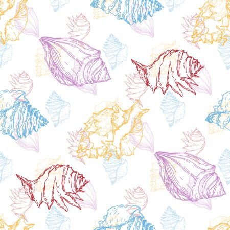 Summer beach seashell tropical elements. Black and white engraved ink art. Seamless background pattern. Fabric wallpaper print texture on white background. Stock Vector - 130573607