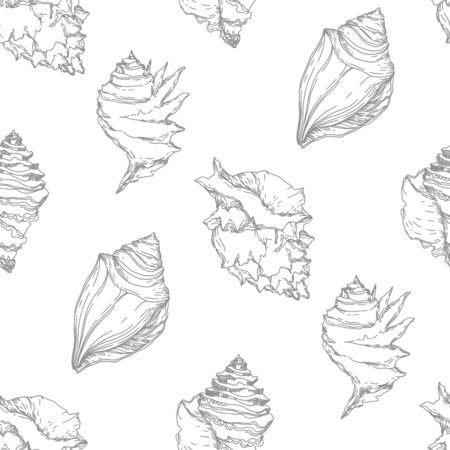 Summer beach seashell tropical elements. Black and white engraved ink art. Seamless background pattern. Fabric wallpaper print texture on white background. Иллюстрация