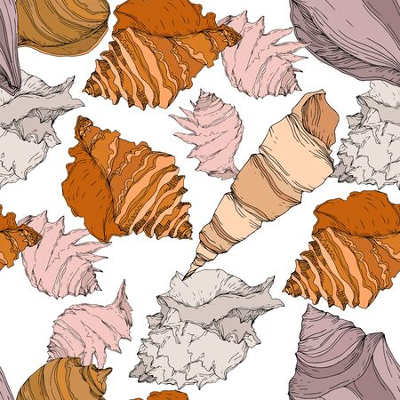 Summer beach seashell tropical elements. Black and white engraved ink art. Seamless background pattern. Fabric wallpaper print texture on white background. Çizim