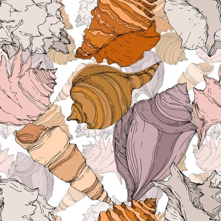 Summer beach seashell tropical elements. Black and white engraved ink art. Seamless background pattern. Fabric wallpaper print texture on white background. 向量圖像