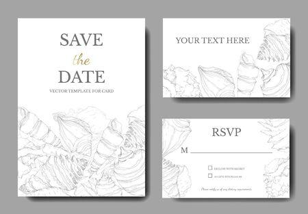 Elementos tropicales de concha de playa de verano. Arte de tinta grabada en blanco y negro. Cenefa decorativa de la tarjeta de fondo de boda. Gracias, rsvp, banner de conjunto gráfico de ilustración de tarjeta elegante de invitación.