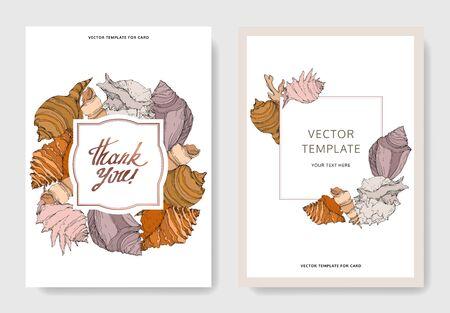 Summer beach seashell tropical elements. Black and white engraved ink art. Wedding background card decorative border. Thank you, rsvp, invitation elegant card illustration graphic set banner. Stock Vector - 130573534