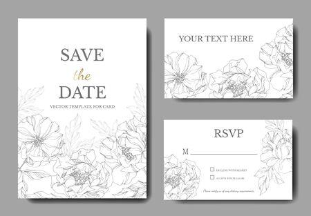 Peony floral botanical flowers. Black and white engraved ink art. Wedding background card floral decorative border. Thank you, rsvp, invitation elegant card illustration graphic set banner.