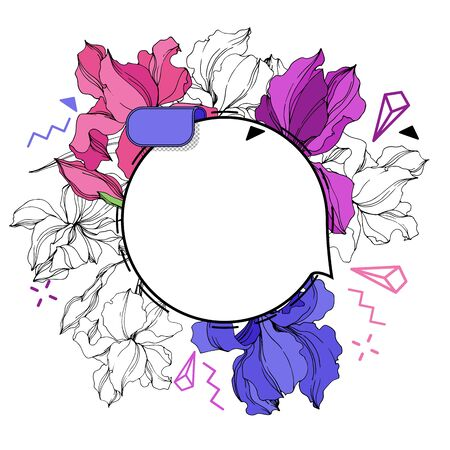 Vector Label tags set. Floral badge for text. Engraved ink art. Isolated sticker illustration element. Iris floral botanical flower. Stock Illustratie