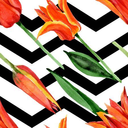 Orange tulip floral botanical flower. Wild spring leaf wildflower.  illustration set. Watercolour drawing fashion aquarelle. Seamless background pattern. Fabric wallpaper print texture.