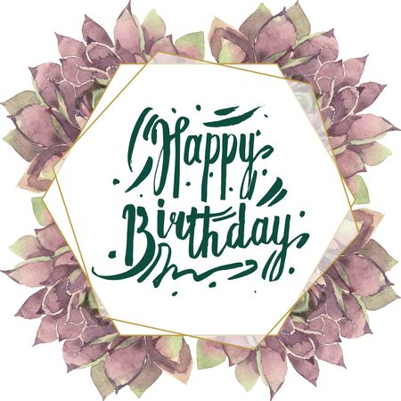 Succulent floral botanical flower. Wild spring leaf wildflower isolated.  background illustration set. Watercolour drawing fashion aquarelle. Frame border crystal ornament square. Stock fotó