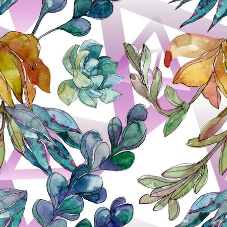 Succulents floral botanical flowers. Wild spring leaf wildflower.  illustration set. Watercolour drawing fashion aquarelle. Seamless background pattern. Fabric wallpaper print texture.