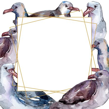 Sky bird seagull in a wildlife isolated. Wild freedom, bird with a flying wings.  background illustration set. Watercolour drawing fashion aquarelle. Frame border ornament square. Standard-Bild - 131354313