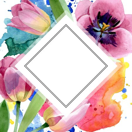 Pink tulips floral botanical flower. Wild spring leaf wildflower isolated.  background illustration set. Watercolour drawing fashion aquarelle isolated. Frame border ornament square. Stock Photo