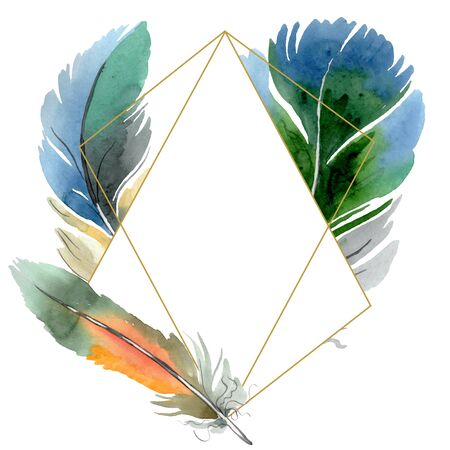 Colorful bird feather from wing isolated.  background illustration set. Watercolour drawing fashion aquarelle isolated. Frame border ornament square. Standard-Bild - 131703329
