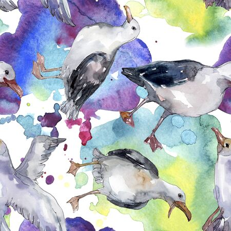 Sky bird seagull in a wildlife. Wild freedom, bird with a flying wings.  illustration set. Watercolour drawing fashion aquarelle. Seamless background pattern. Fabric wallpaper print texture. Standard-Bild - 131703359