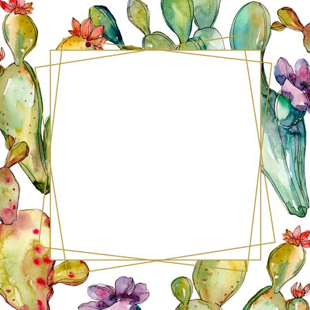 Green cactus floral botanical flowers. Wild spring leaf wildflower isolated.  background illustration set. Watercolour drawing fashion aquarelle. Frame border crystal ornament square.