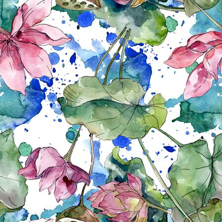Lotus floral botanical flowers. Wild spring leaf wildflower.  illustration set. Watercolour drawing fashion aquarelle. Seamless background pattern. Fabric wallpaper print texture. Stock Photo