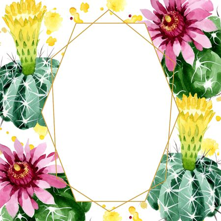 Green cactus floral botanical flowers. Wild spring leaf wildflower.  background illustration set. Watercolour drawing fashion aquarelle. Frame border ornament square. Stock Photo