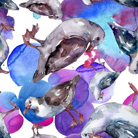 Sky bird seagull in a wildlife. Wild freedom, bird with a flying wings.  illustration set. Watercolour drawing fashion aquarelle. Seamless background pattern. Fabric wallpaper print texture. Standard-Bild - 131695147