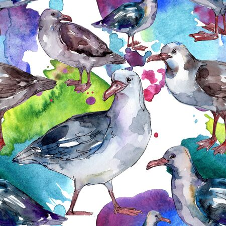 Sky bird seagull in a wildlife. Wild freedom, bird with a flying wings.  illustration set. Watercolour drawing fashion aquarelle. Seamless background pattern. Fabric wallpaper print texture.